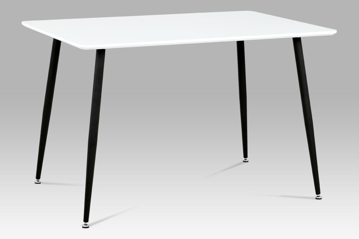Autronic - Jídelní stůl 120x80 cm, bílý mat / černý lak - MDT-672 WT