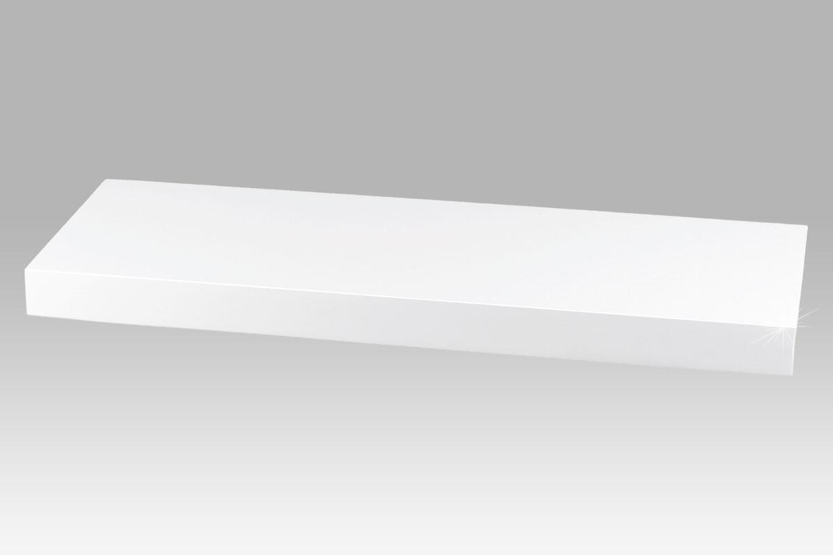 Autronic - Nástěnná polička 60 cm, barva bílá-vysoký lesk. Baleno v ochranné fólii. - P-001 WT