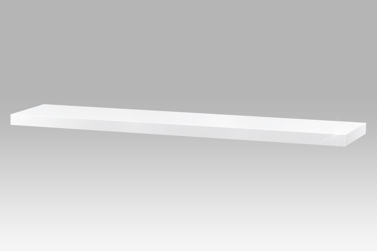 Autronic - Nástěnná polička 120cm, barva bílá - vysoký lesk. Baleno v ochranné fólii. - P-002 WT