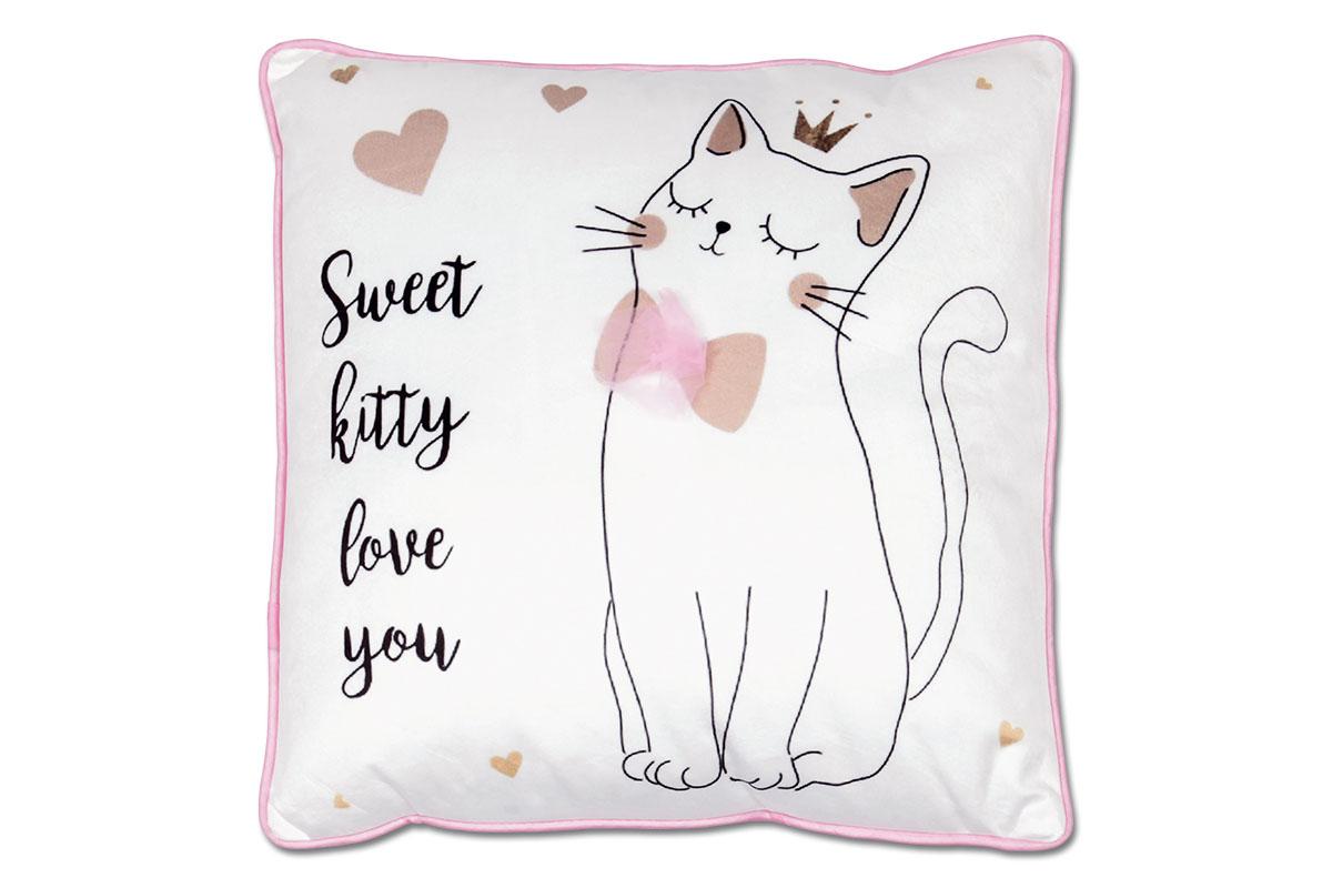 """Autronic - Polštář s výplní. Kočička s mašlí na bílém podkladu. Nápis: """"Sladké koťátko tě miluje"""" - POL264"""