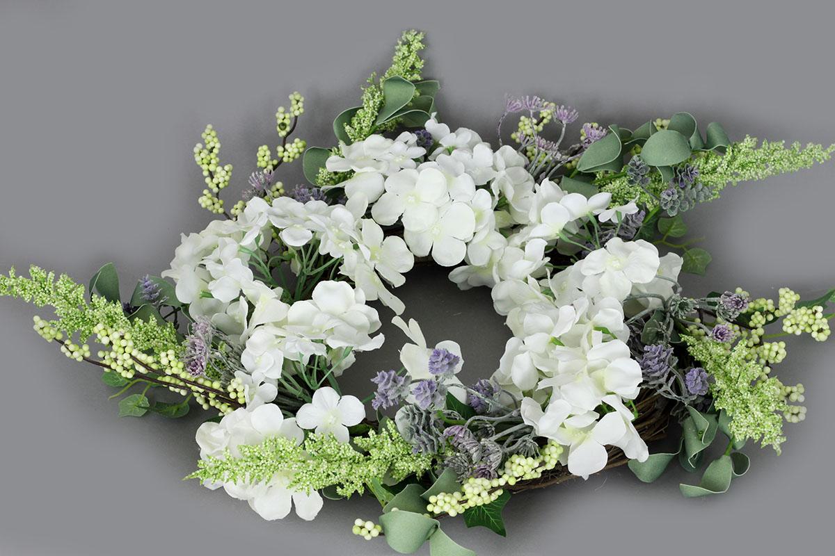 Autronic - Věnec proutěný s umělými květinami, jarní dekorace, barva béžová - PRZ857301