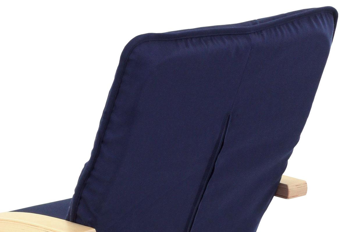 Dětské křesílko, modrá látka, lakovaná buková překližka v přírodním odstínu