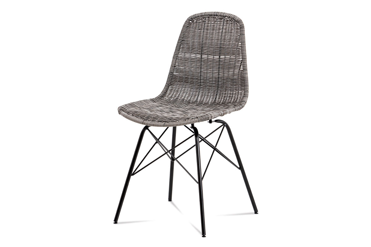 Autronic - Jídelní židle kov černá / UMĚLÝ ratan šedý - SF-822 GREY