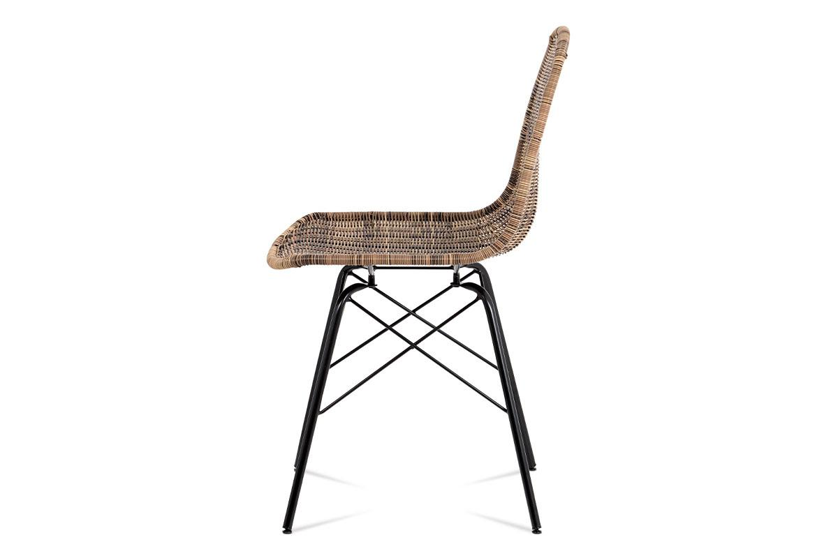Autronic - Jídelní židle kov černá / UMĚLÝ ratan melír - SF-822 TRI