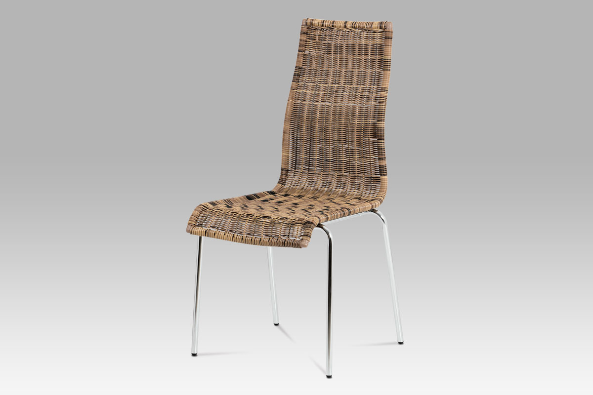 Autronic - Jídelní židle chrom / UMĚLÝ ratan hn. Melír - SF-824 TRI