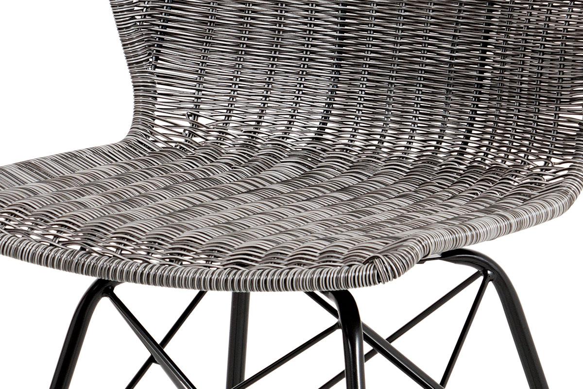 Autronic - Jídelní židle kov černá / UMĚLÝ ratan šedý - SF-825 GREY
