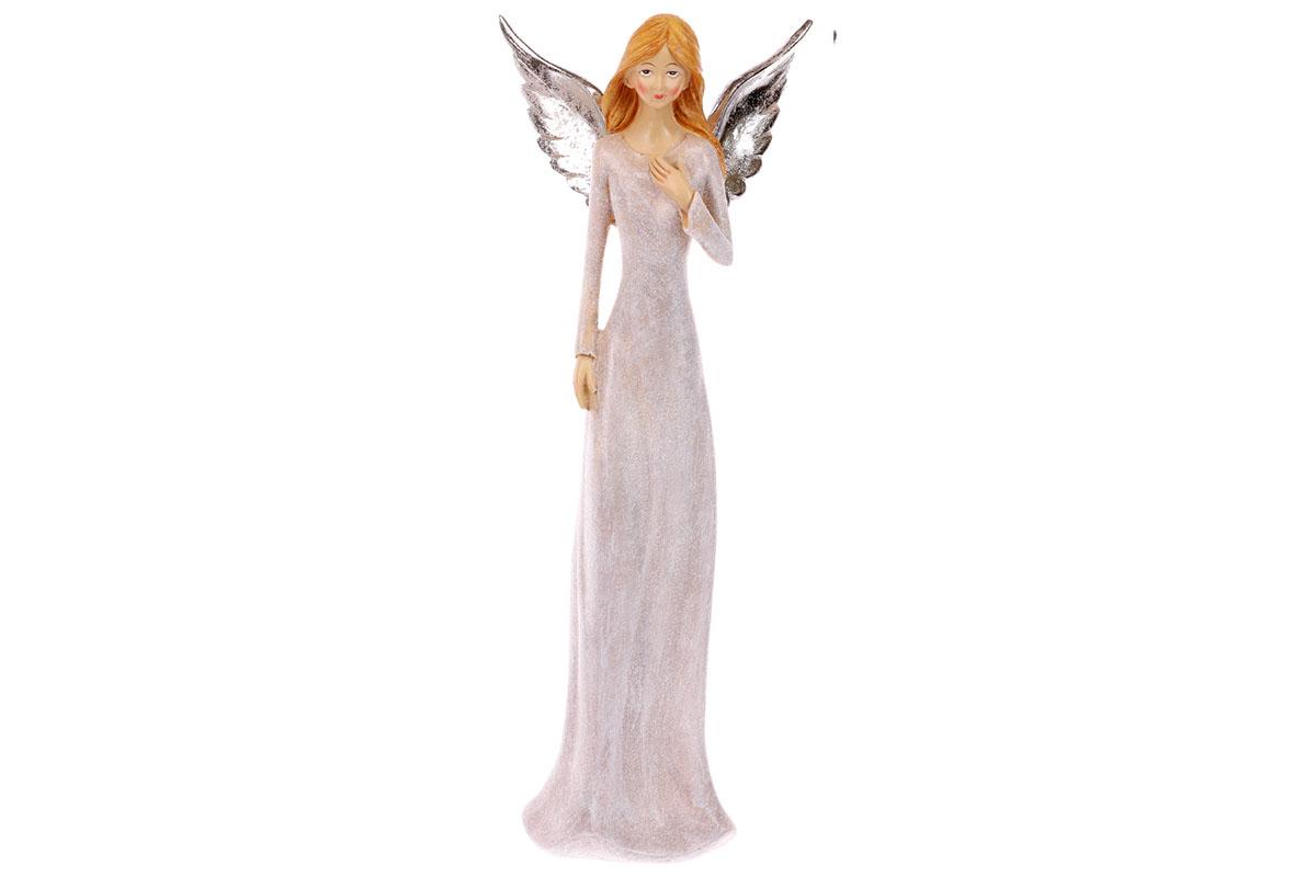 Anděl, polyresinová dekorace, barva šedá s glitry
