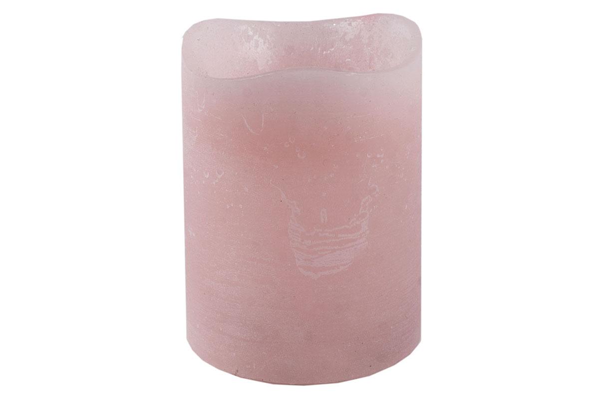 Autronic - Svícen ve tvaru svíčky, s LED světlem, plast potažený voskem, barva růžová - SVW1228