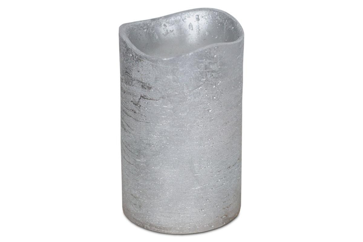 Autronic - Svícen ve tvaru svíčky, s LED světlem, plast potažený voskem, barva stříbrná metalická - SVW1235