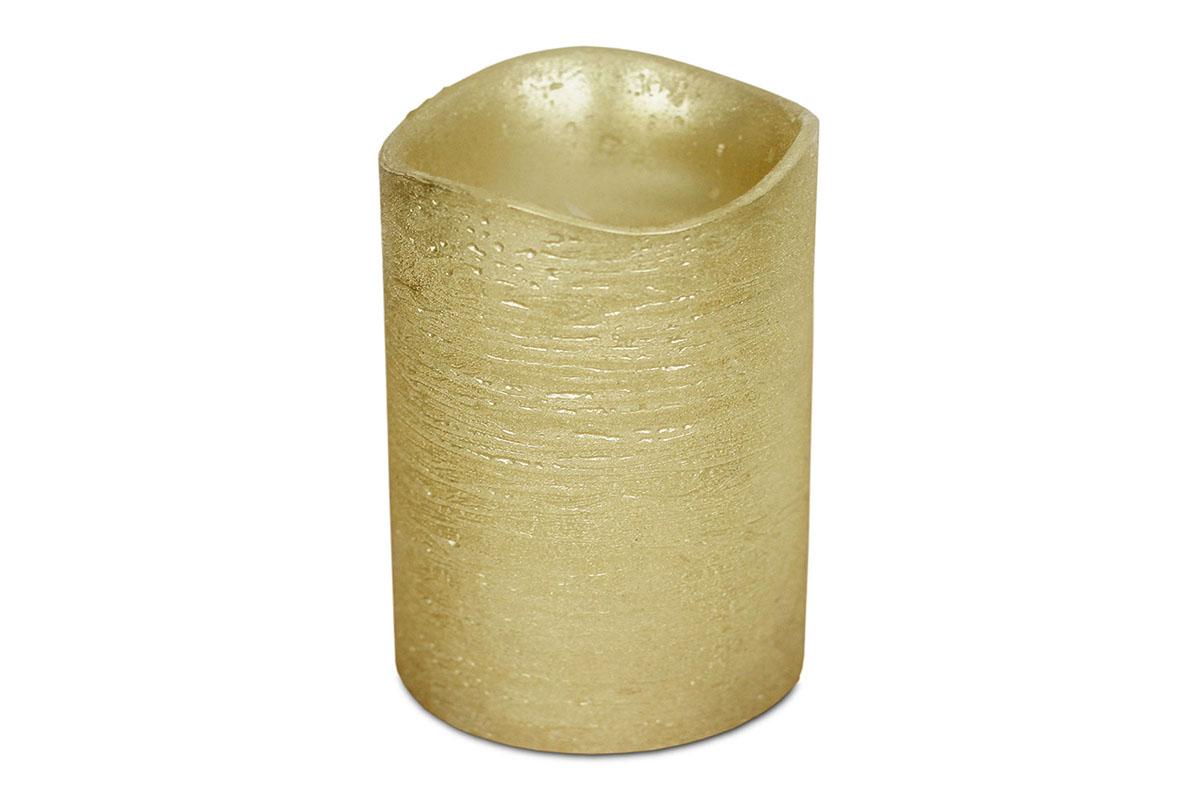 Autronic - Svícen ve tvaru svíčky, s LED světlem, plast potažený voskem, barva zlatá metalická - SVW1238