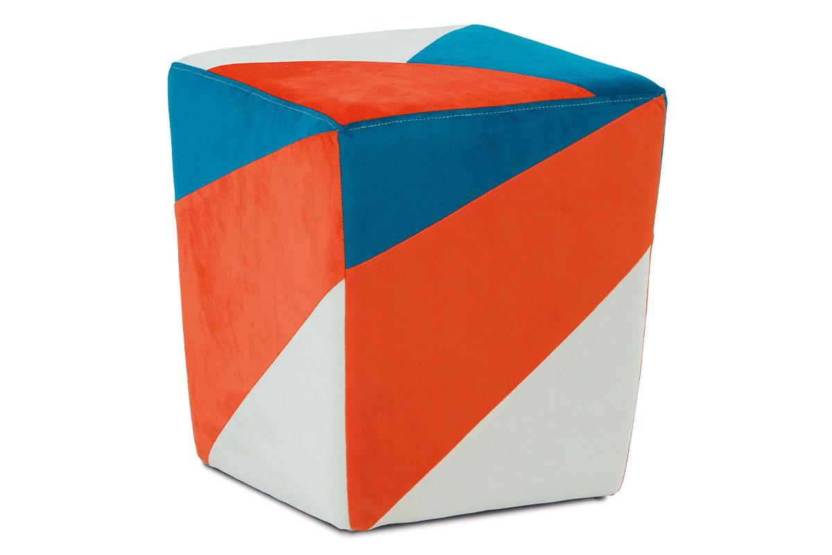 Taburet oranžová / modrá / krémová
