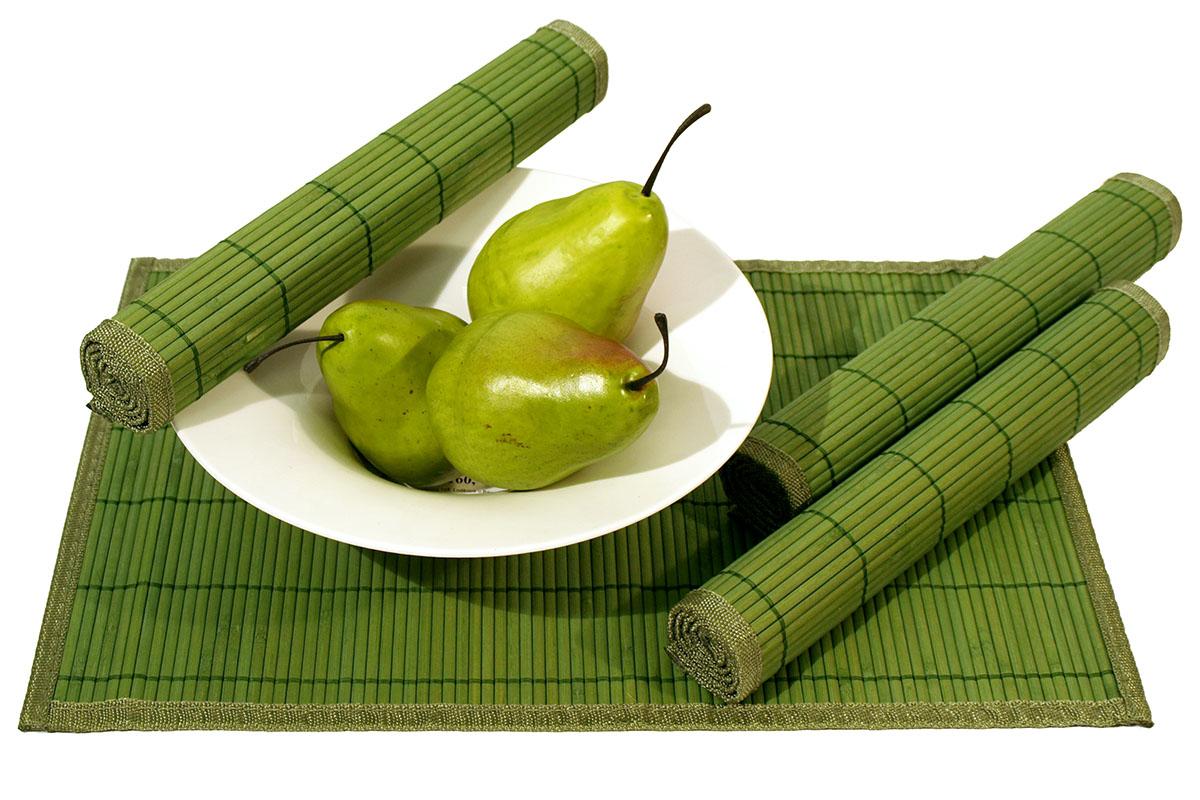 Autronic - Prostírání bambusové, sada 4ks, zelená barva - TH-015 GR