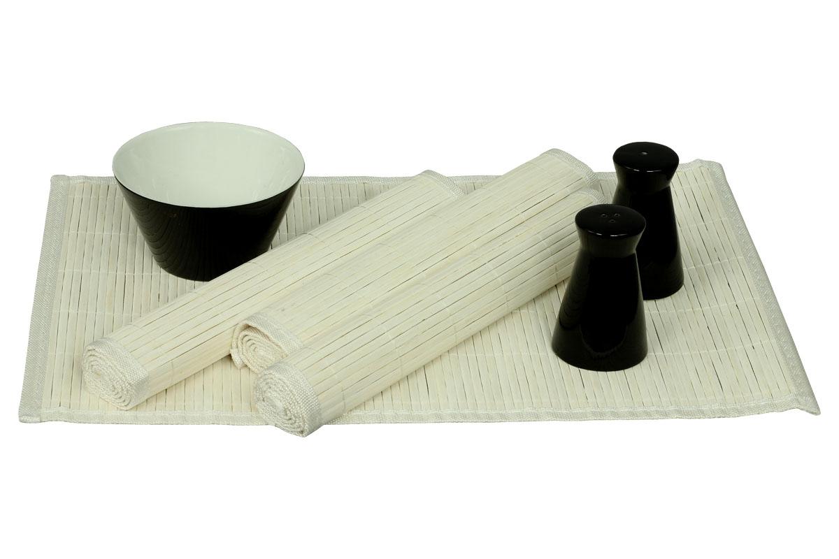 Autronic - Prostírání bambusové, sada 4ks, bílá barva - TH-015 WH