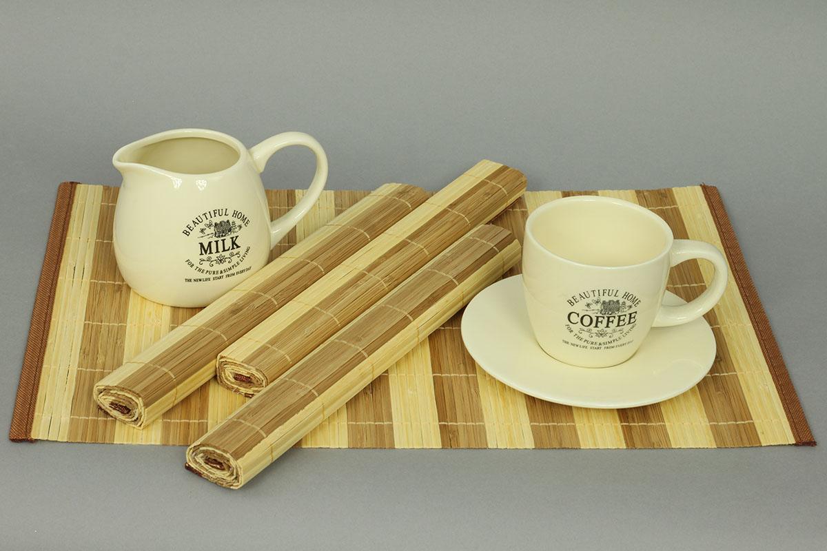 Autronic - Prostírání bambusové, sada 4ks, hnědo-bílé pruhy - TH-022-1-S4