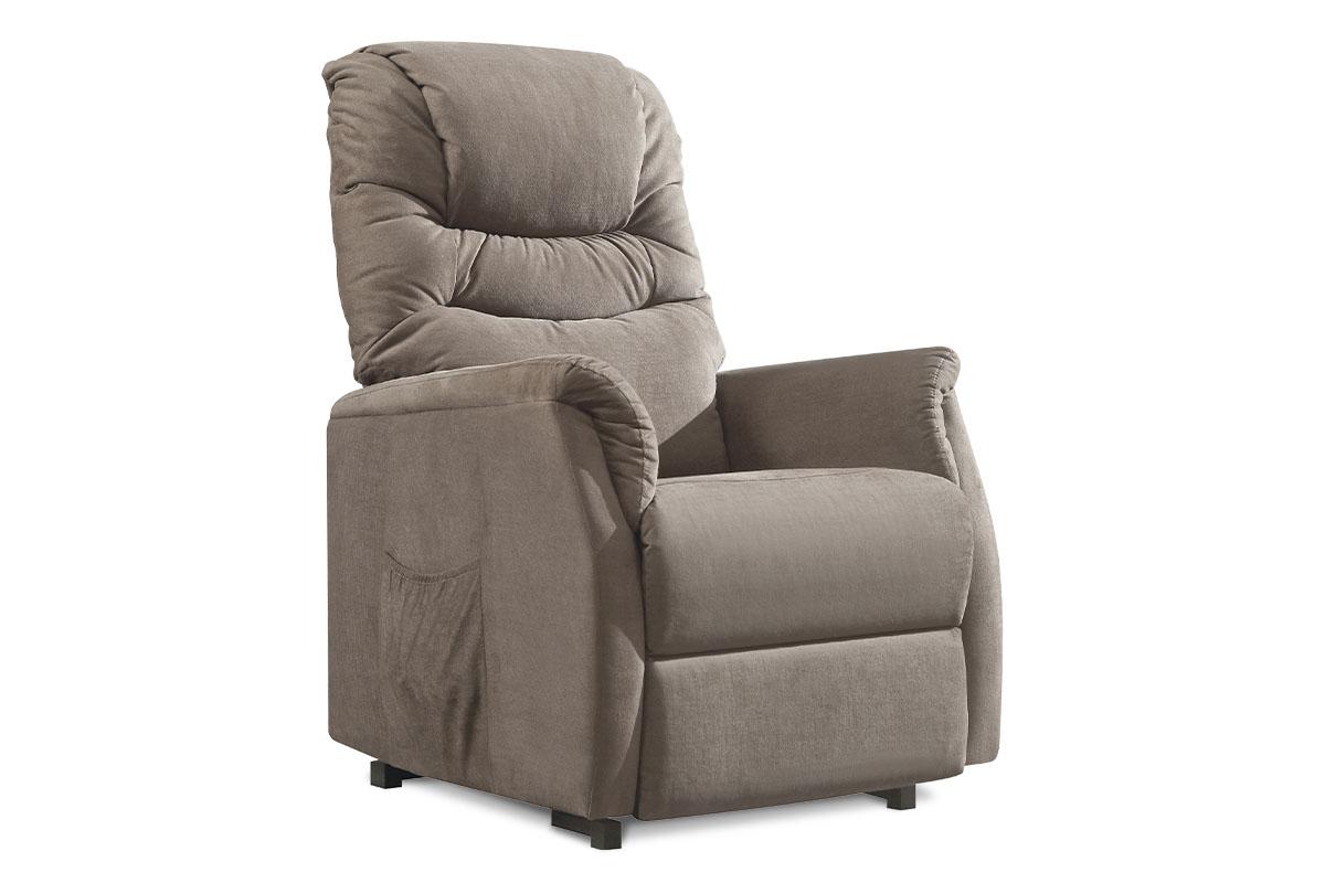 TV a relaxační křeslo s elektrickým ovládáním, potah cappuccino látka, 2 motory 240V/29V