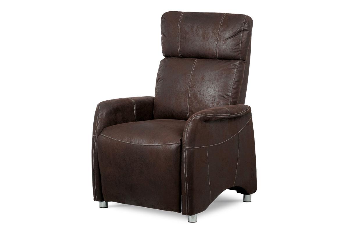 Autronic - TV křeslo, hnědá látka v dekoru broušené kůže, kov černý lak / chrom - TV-5040 BR3