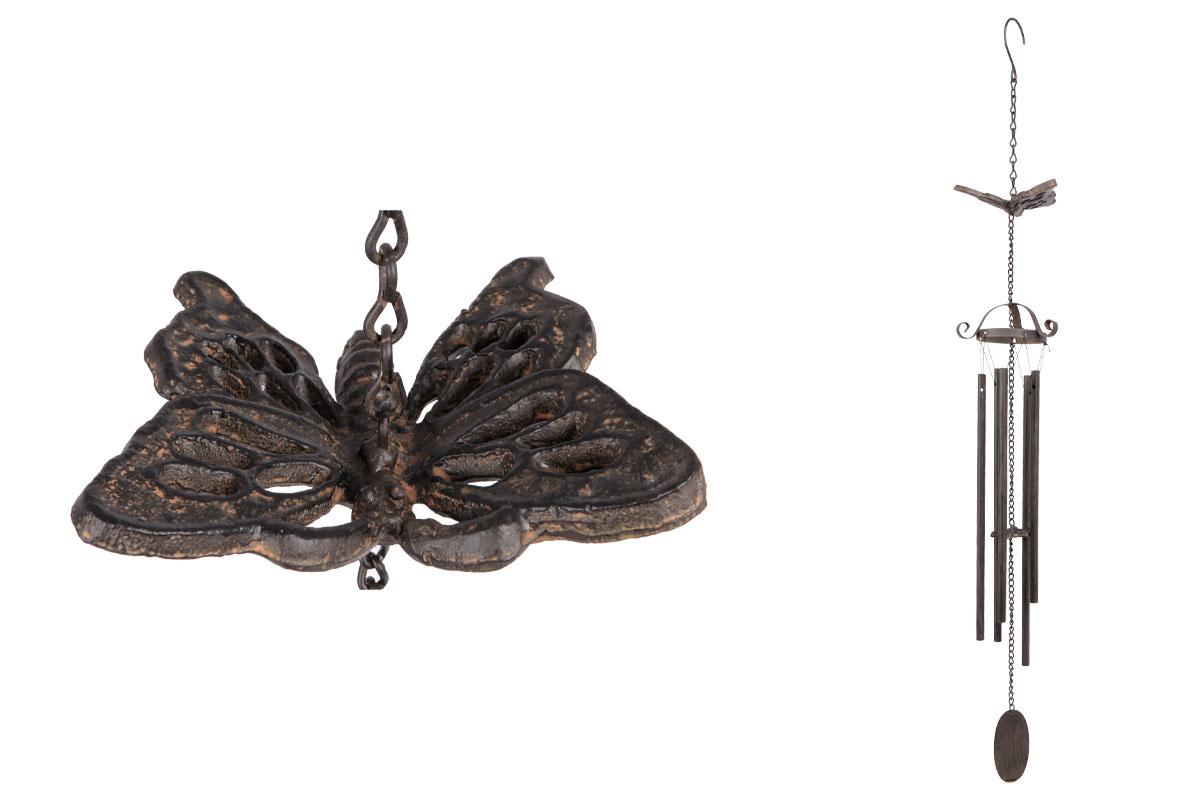 Autronic - Zvonkohra s motýlem, kovová dekorace do zahrady, hnědá barva - UM0763