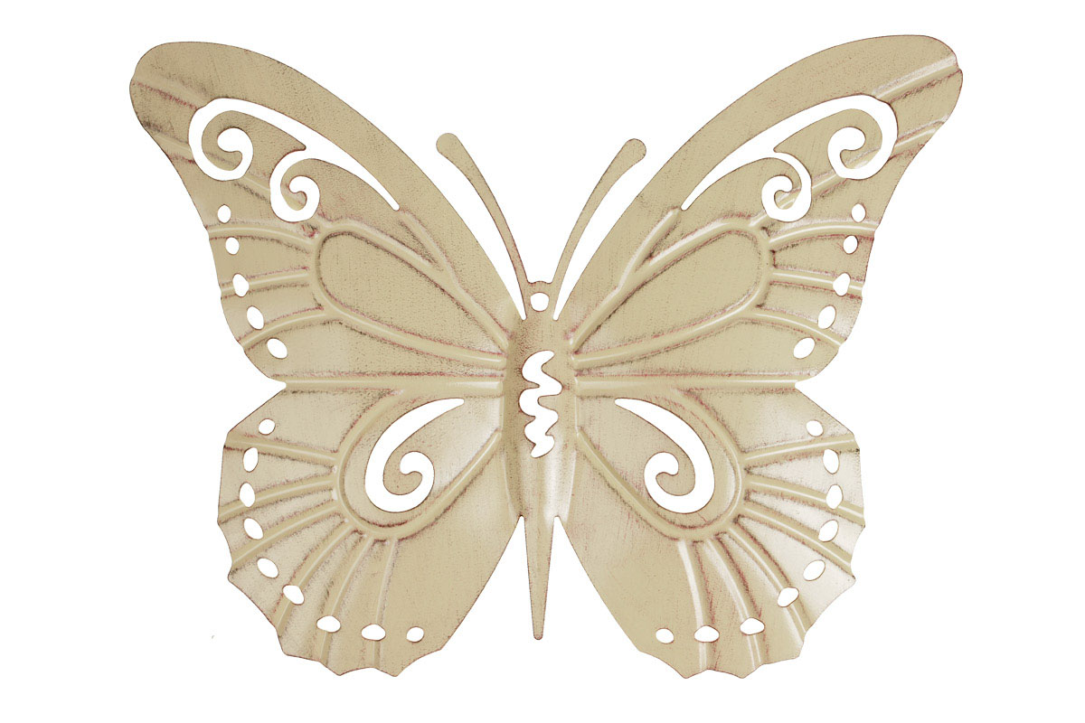 Autronic - Motýl, kovová dekorace na zavěšení, barva žlutá antik - UM0771