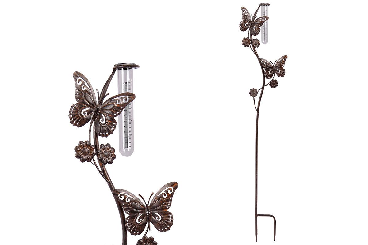 Autronic - Srážkoměr s motýly, kovová dekorace na zapíchnutí do zahrady - UM0830
