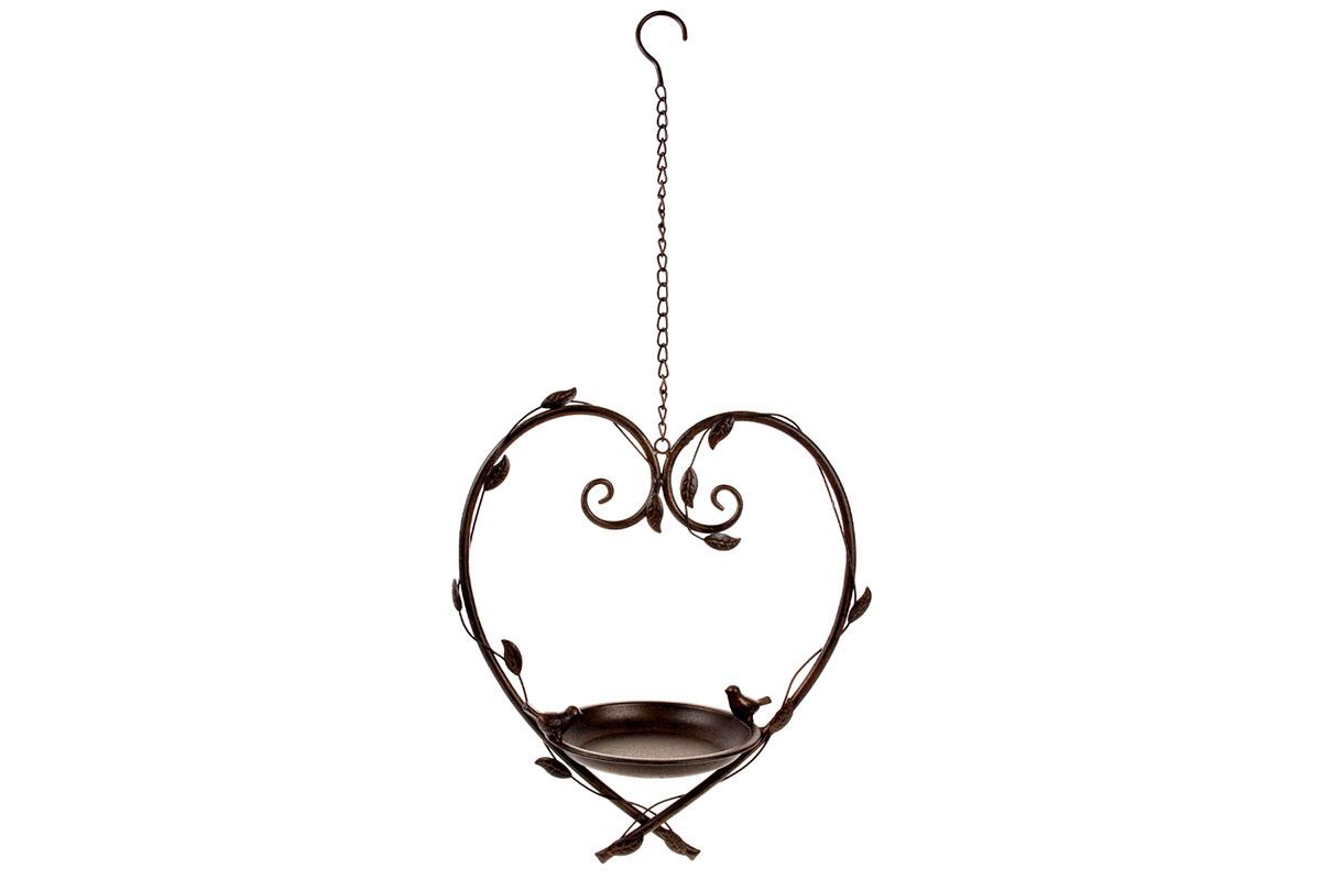 Autronic - Krmítko pro ptáčky ve tvaru srdce, kovová zahradní dekorace k pověšení. - UM0837