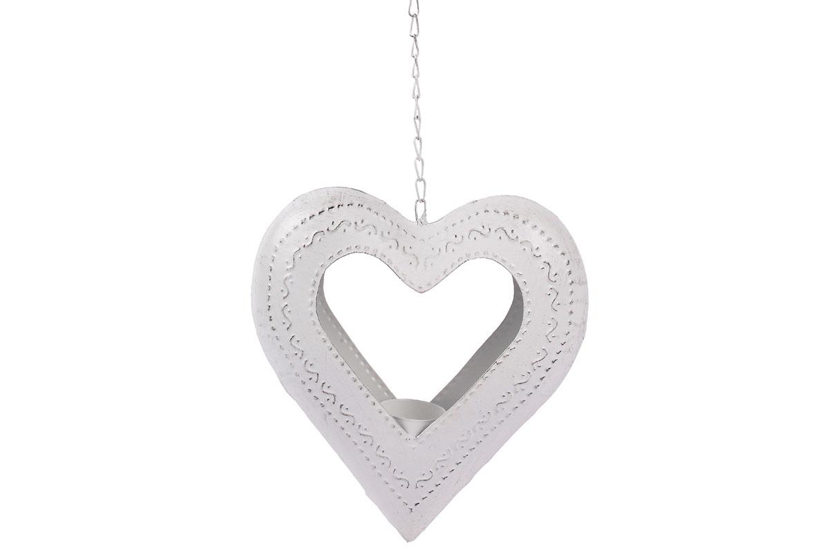 Autronic - Srdce kovové - svícen na čajovou svíčku. Kovová dekorace na pověšení. - UM0842