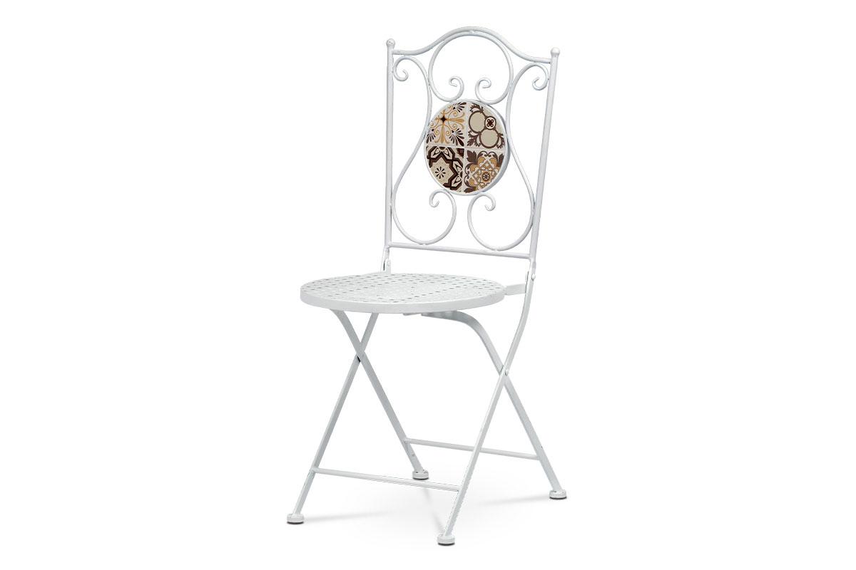 Autronic - Zahradní židle, keramická mozaika, kovová konstrukce, bílý matný lak (typově ke stolu US1000) - US1001
