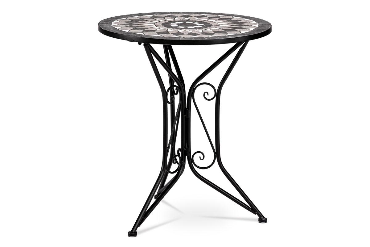 Zahradní stůl, deska z keramické mozaiky, kovová konstrukce, černý matný lak (typově k židli US1007 a lavici US1005)