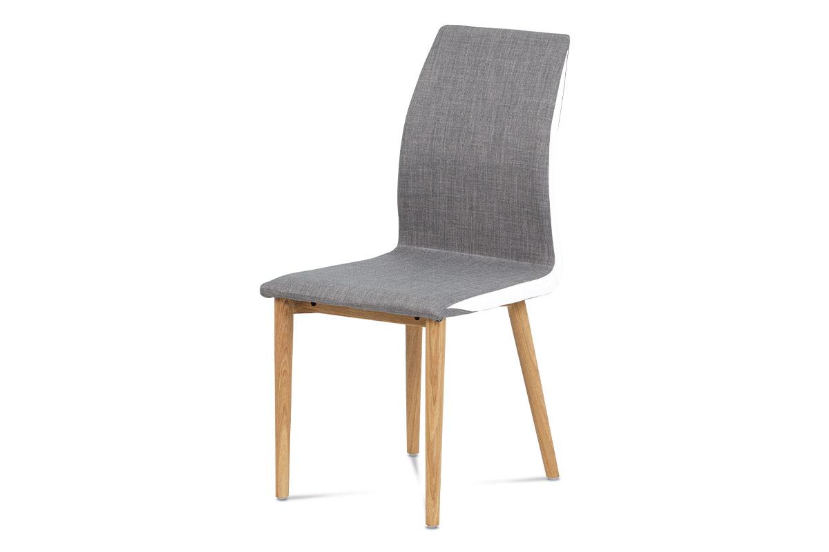 Autronic - Jídelní židle látka sv. hnědá, boky bílá koženka, nohy masiv dub - WC-1513B BR2