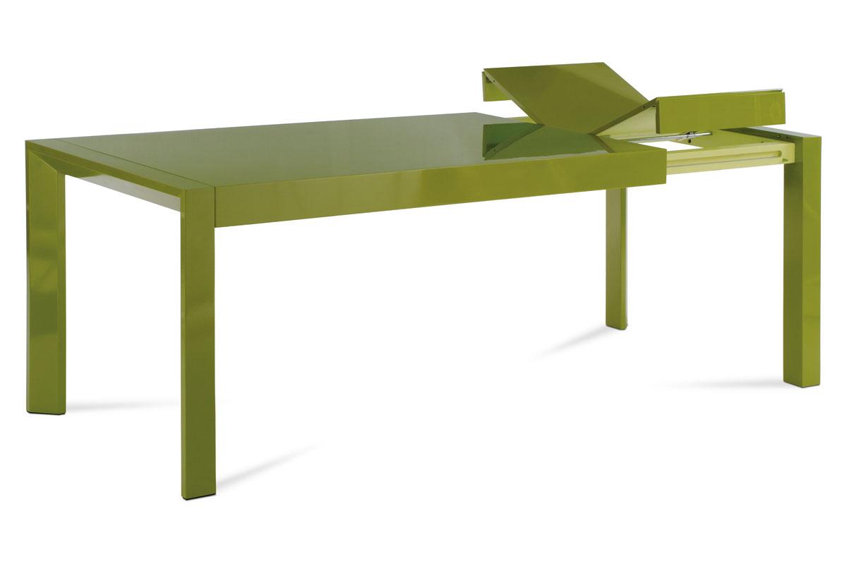 Autronic - Jídelní stůl rozkl., 160+50x90 cm, vysoký lesk zelený - WD-5829 GRN