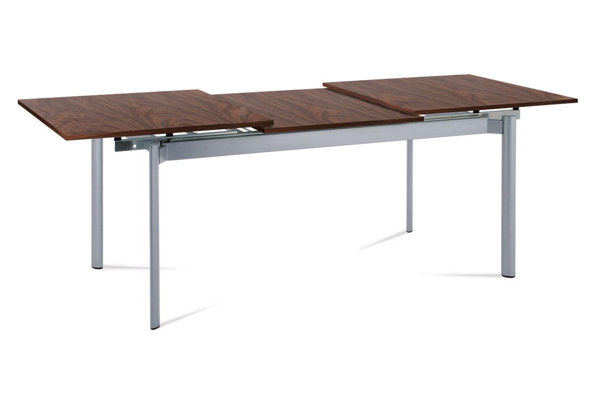 Autronic - Jídelní stůl rozkl. 160+72x85x76 cm, alu / dýha ořech - WD-5864 AWAL