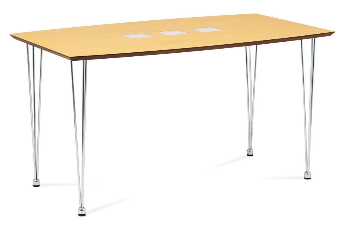 Autronic - Jídelní stůl 135x80 cm, chrom / dýha natural (WD-5837-2) - WD-5909 NAT