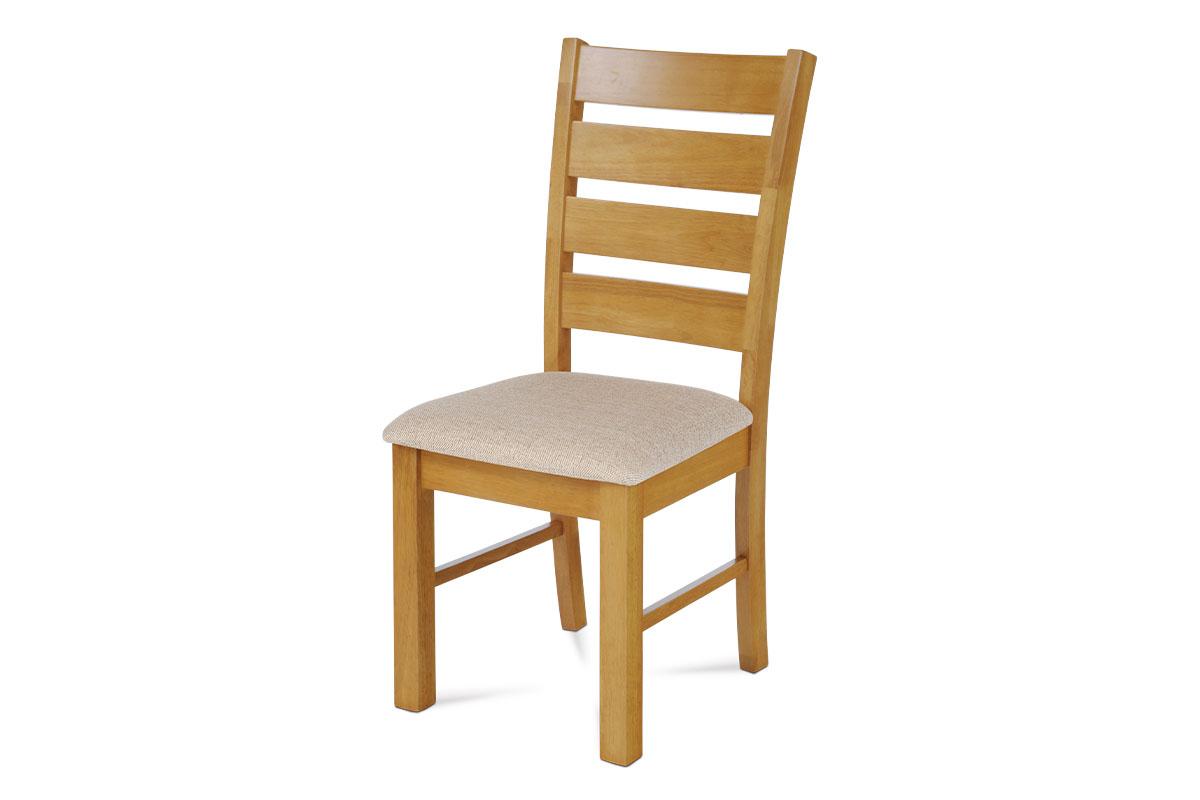 Autronic - Jídelní židle, barva dub / potah béžový - WDC-181 OAK2