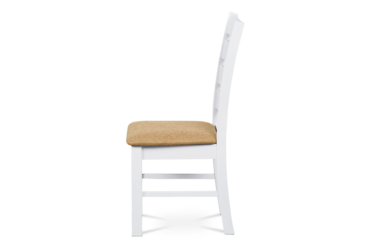 Jídelní židle, masiv kaučukovník, látkový potah v pískové barvě, bílý matný lak - WDC-181 WT