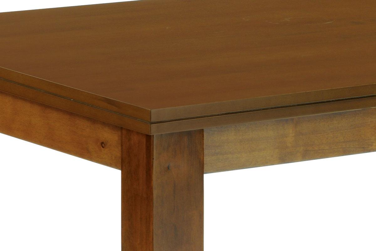 Jídelní stůl 150x90 cm, deska MDF a dýha, nohy masiv kaučukovník, moření ořech l - WDT-181 WAL2