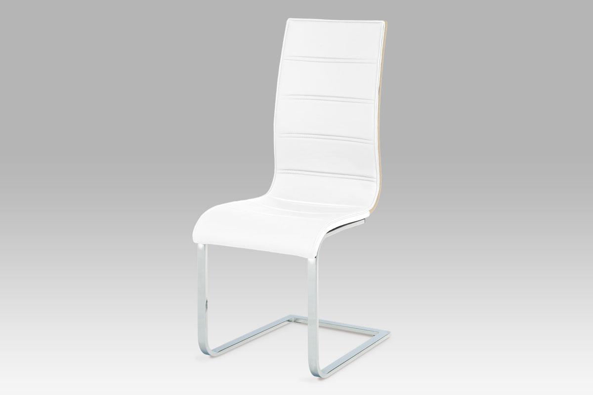 Autronic - Jídelní židle, koženka bílá / sonoma / chrom - WE-5022 WT