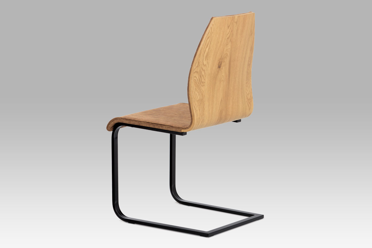 """Autronic - Jídelní židle, látka """"COWBOY"""" hnědá, překližka dub, kov matná černá - WE-5024 BR3"""
