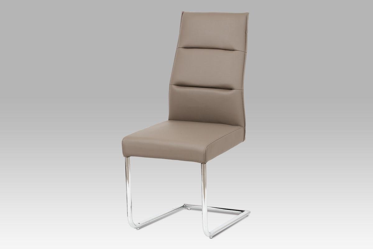 Autronic - Jídelní židle chrom / koženka cappuccino - WE-5033 CAP1