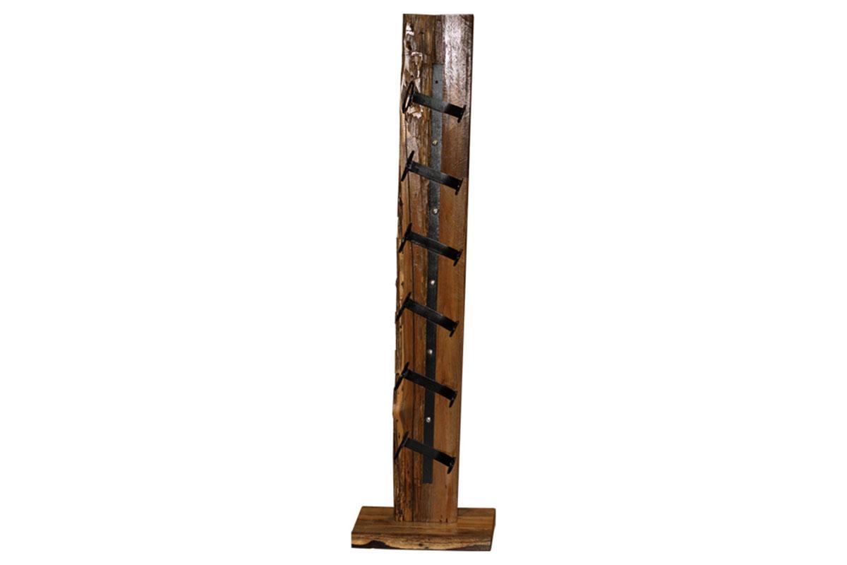 Autronic - Stojan na víno, dřevořezba z recyklovaného dřeva s kovovými držáky - WLD136
