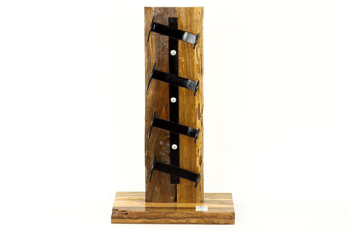 Autronic - Stojan na víno, dřevořezba z recyklovaného dřeva s kovovými držáky - WLD137