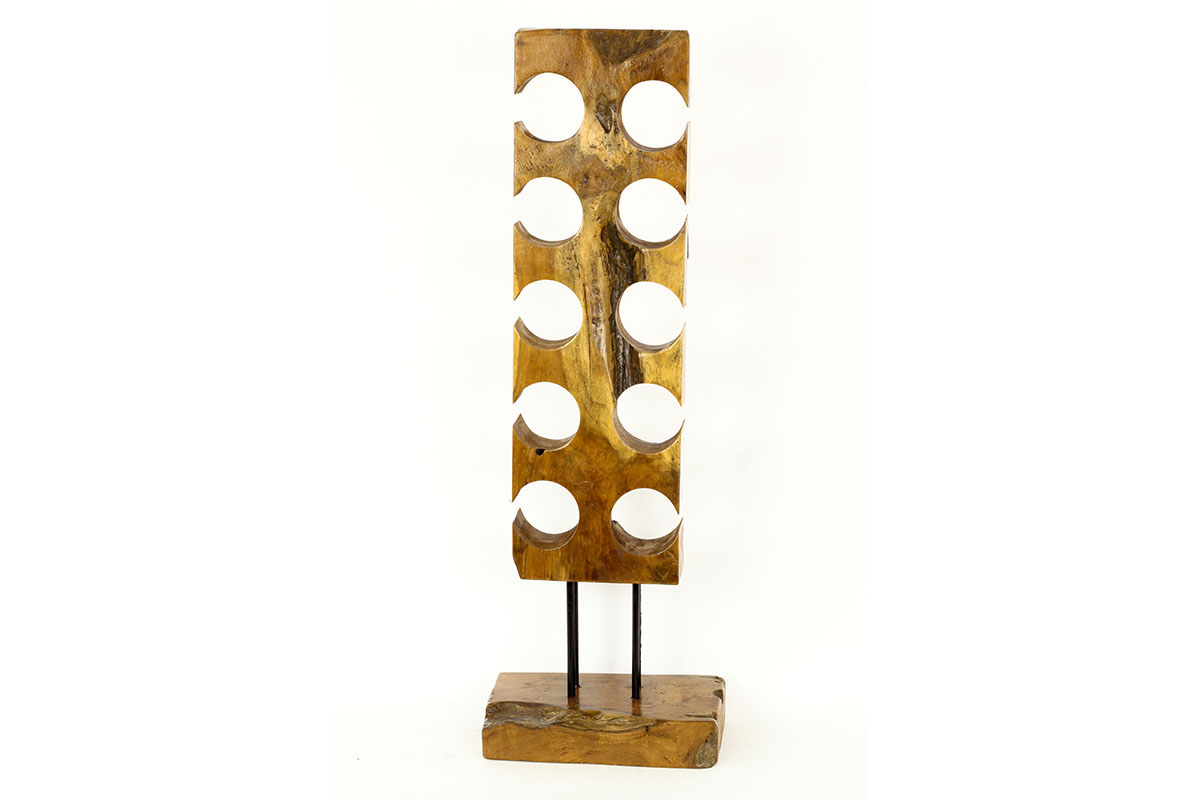 Autronic - Stojan na víno, dřevořezba z teakového dřeva - WLD138