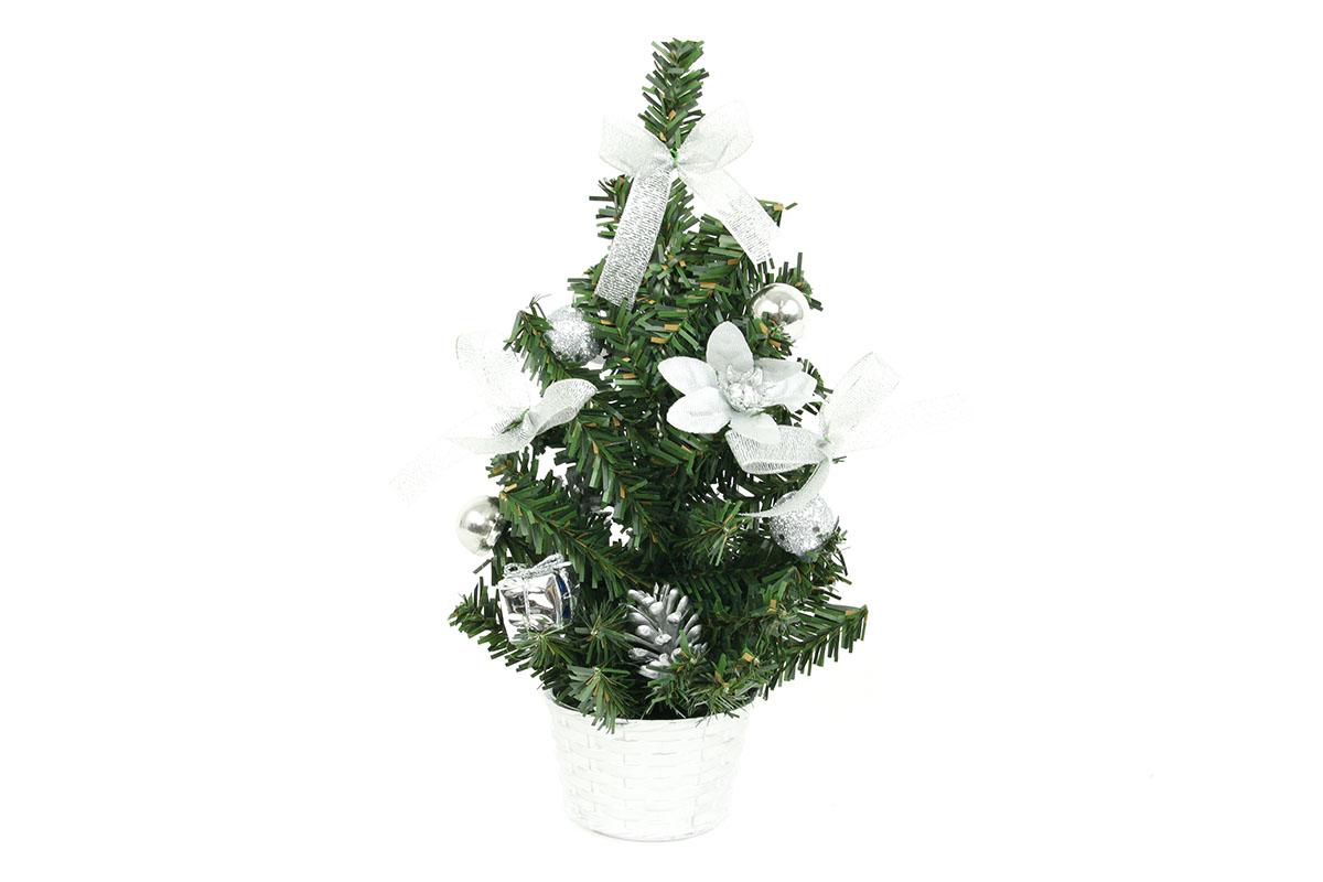 Autronic - Stromeček ozdobený, umělá vánoční dekorace, barva stříbrná - YS20-004