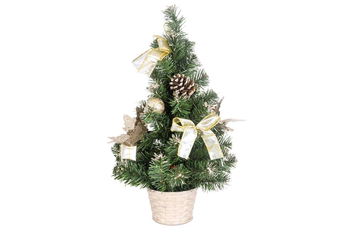 Autronic - Stromeček ozdobený, umělá vánoční dekorace, barva zlato-bílá - YS20-010
