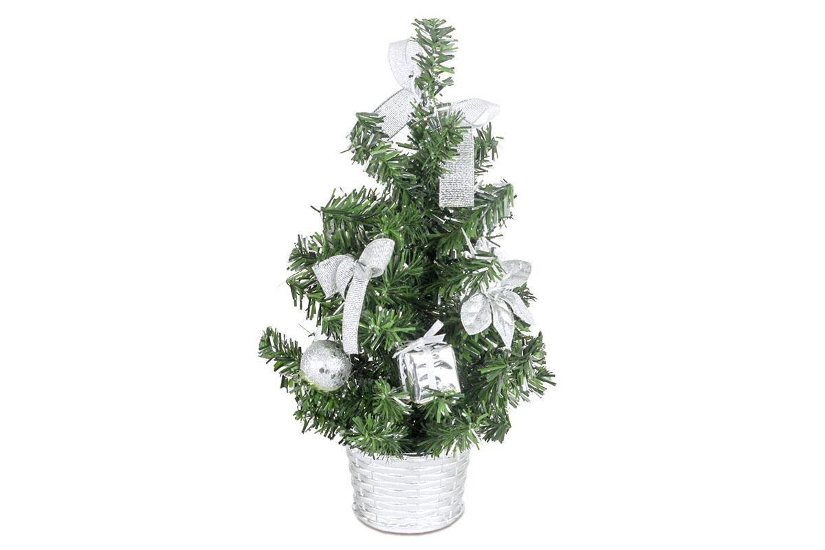 Autronic - Stromeček ozdobený, umělá vánoční dekorace, barva stříbrná - YS20-014