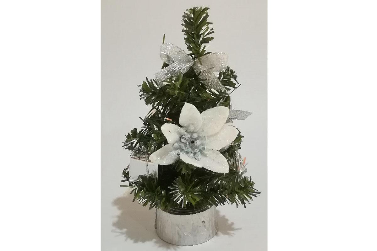 Autronic - Stromeček ozdobený, umělá vánoční dekorace, barva stříbrno-bílá - YS20-015
