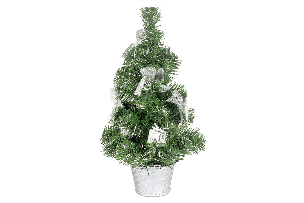 Autronic - Stromeček ozdobený, umělá vánoční dekorace, barva stříbrná - YS20-016