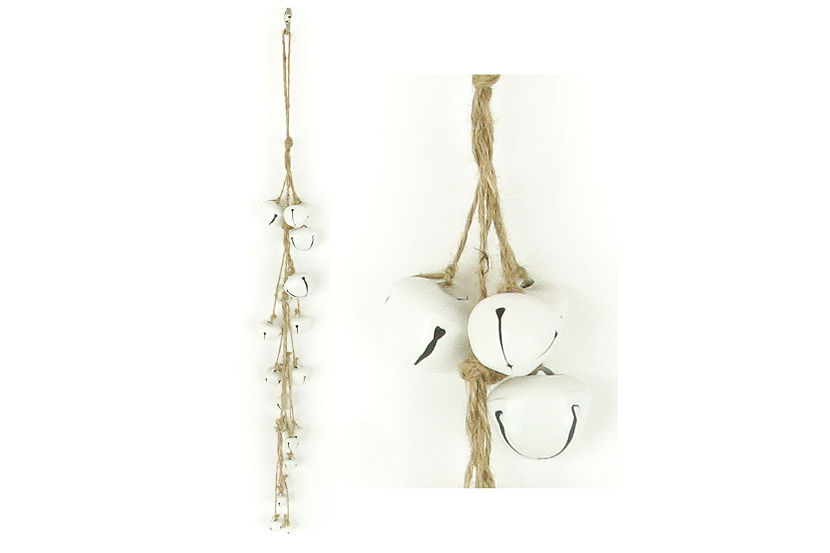 Autronic - Girlanda, vánoční dekorace s bílými kovovými rolničkami - ZA8626