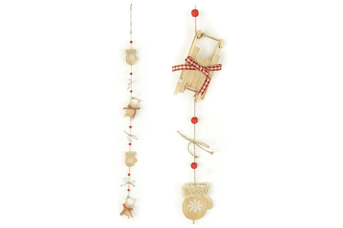Autronic - Girlanda, vánoční dekorace s dřevěnými palčáky a sáňkami - ZA8627