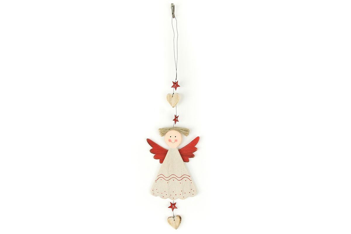 Autronic - Andělka, závěsná dřevěná vánoční dekorace - ZA8631