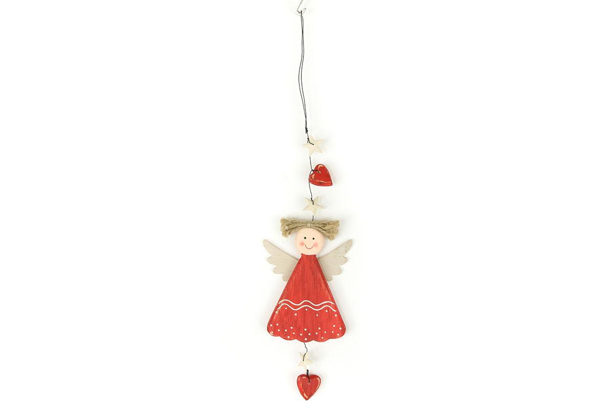 Autronic - Andělka, závěsná dřevěná vánoční dekorace - ZA8632