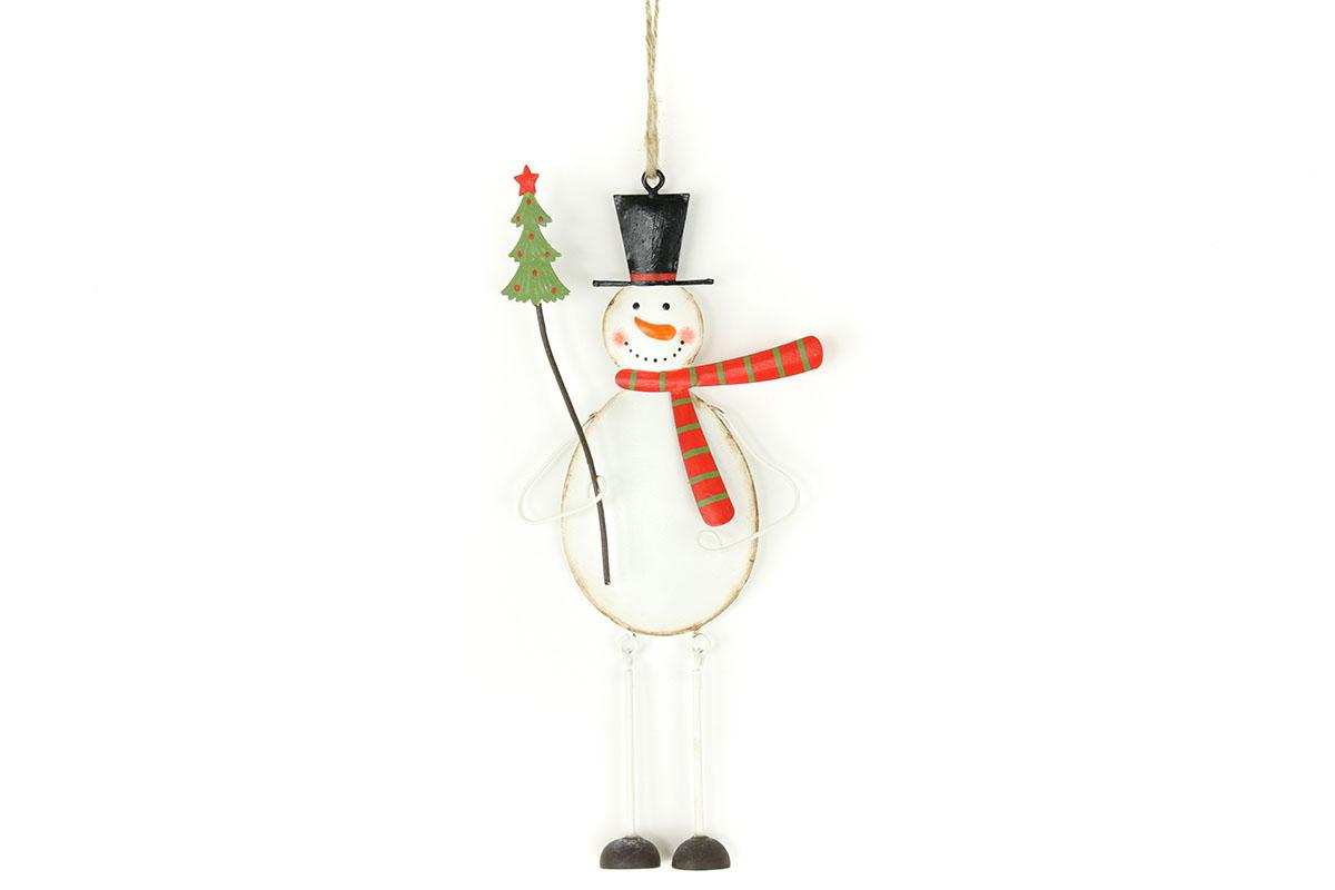 Autronic - Sněhulák, kovová vánoční závěsná dekorace - ZA8636
